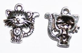 BDM26  1 x Bedel  Poes Antiek Zilver 19mm