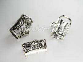 MTL39   1 x metalen kraal Buis met oog 31x25mm Antiek Zilver