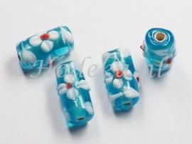 GLS11  1 x Glaskraal buisje Blauw en Wit 17mm