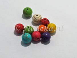 NSD18  6 x kraal Rond van steen mix kleuren ca. 10 mm
