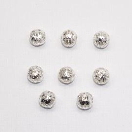 MTL13a   50 x  metalen kraal Rond filigraan  8mm Zilver