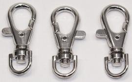 BHS10a  3 x Sleutel/Tashanger (musketonhaak) 4cm