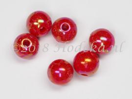 ACP08/38    20 x acryl kraal rond 8mm Rood met parelmoer glans