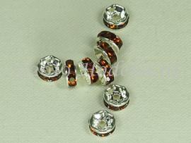 MTS20  5 x Metalen kraal met strass Bruin 6 x 3 mm