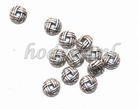 MTL28   15 x metalen basis kraal  Rondel gevlochten 6 x 3 mm Antiek Zilver