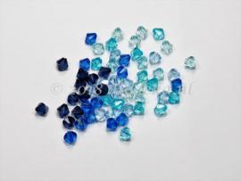 ACB06/02   60 x acrylkraal Bicone 6mm Blauw Mix