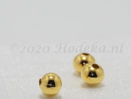 MTL115   8 x metalen kraal  8 mm Goud