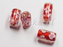 GLS09  1 x Glaskraal buisje Oranje, Roze en Wit 15mm