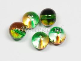 GLR64  12 x Glaskraal Groen en Oranje 8x9mm