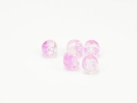 GLR31a   50 x Glaskraal Crackle Roze en Transparant  8mm