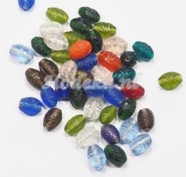 KLM04   50 gram Glaskralen mix Ovaal