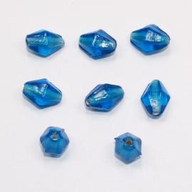 GKB09 20x Glaskraal Ruit Blauw ca. 13 x 9mm