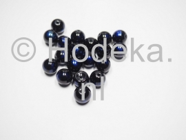 GLR44 6 x glaskraal rond Paars / Blauw / Zwart  10mm