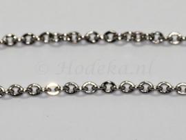 KBH17  10 cm. Ketting Antiek zilver ca. 3 x 2.5 mm