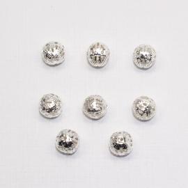 MTL13   12 x  metalen kraal Rond filigraan  8mm Zilver