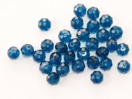 FCT08-06  10 x Facet geslepen glaskraal Rondel Petrol Blauw 6x8mm