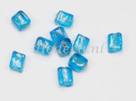 GLV05a 125 x Glaskraal Vierkant Blauw  8 x 6mm