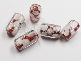 GLS10  1 x Glaskraal vierkant buisje Rood met Wit 14mm