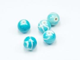ACP10/07   10 x Acryl kraal rond 10mm Blauw/Wit