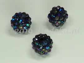 ACP14/07  2 x acryl kraal 14mm met strass  Zwart/Paars/blauw