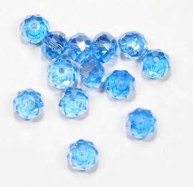 FCT08-18  10 x Facet geslepen glaskraal Blauw AB 6x8mm