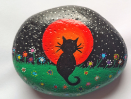HPS02 Hand painted Happy stone by Hodeka.nl Poes voor maan