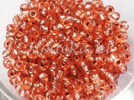 CRP06/13  12 gram Preciosa Rocailles 6/0 rosé/bruin silverlined