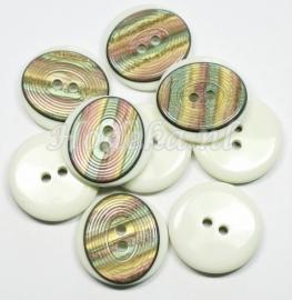 KNO36  1 x  crème kleurige  knoop met een ovaal van div  kleuren erop. 28 m