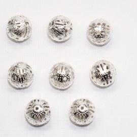 MTL14a   50 x  metalen kraal Rond filigraan  12mm Zilver