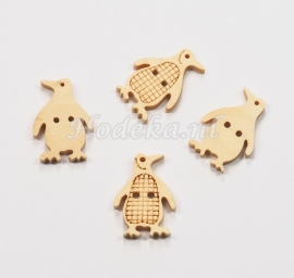 KNO142a  5 x Houten knoop  Pinguin ca. 20 x 15 mm