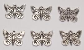 BDM13  1 x  Bedel Vlinder Antiek Zilver 22mm
