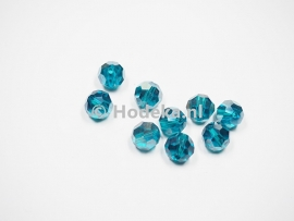 FCR10-01    6 x  Facet geslepen glaskraal Rond Blauw met olie glans 10mm