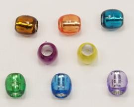 ACT12/05    6 x Acryl kraal Tube ca. 12 x 13mm Kleuren Mix