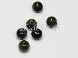 ACP10/42   10 x acryl kraal rond 10mm gemêleerd Donker Groen