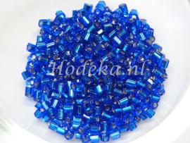 Opruiming van de CZT02a   Rocailles staafje 50 gr.  Donker Blauw Zilveren kern ca. 2 mm