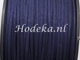 BSV28  1 meter imitatie Suede Veter heel Donker Blauw 3mm