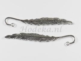 BKL08   1 x Boekenlegger  Veer (klein) antiek zilver 80 x 12mm