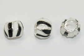 PDM16 1 x pandora style metalen kraal Zwart/Wit