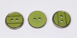 KNO06a  5 x Groene knoop met metalen rand ca. 18 mm