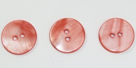 KNO24a 5x  Rood/Oranje  Schelp knoop ca. 20mm