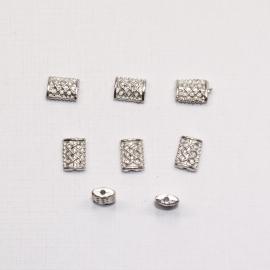 MTL05   10 x  metalen kraal Rechthoek  7x5mm Antiek Zilver