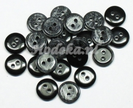KNO52a   5 x Zwart Grijze glanzende knoop ca. 11 x 2.5 mm