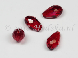 FCT15/12  5 x Facet glaskraal Donker Rood 15 x 10mm