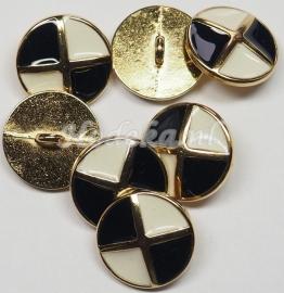 KNO100  1 x Mooie metalen goude knoop met oog   ca. 18 mm