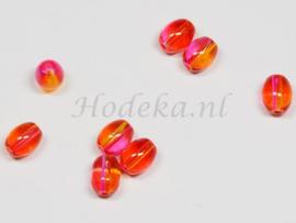 OVG03   14 x Glaskraal Ovaal Roze en Oranje 9mm