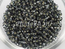 CRP08/55a  50 gram Preciosa Rocailles 8/0 Antraciet silverlined