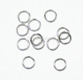 BHR02  30 ringetjes 8 mm  -sterk- Antiek zilver