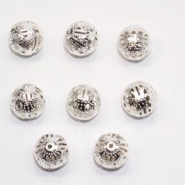 MTL14   10 x  metalen kraal Rond filigraan  12mm Zilver