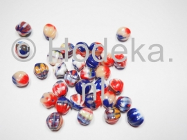 CZR23  6 x Tsjechische Glaskraal Rond 10mm multi kleuren