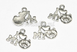 "BDK09 5 x  ""I love my cat""  antiek zilver 12mm"